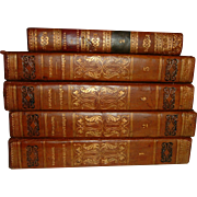 Antique French Leather Books 5 Volumes dated 1833
