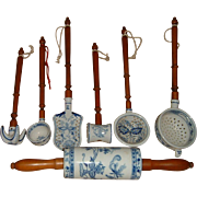 Vintage Porcelain & Wood Kitchen Utensils 7 Pcs. Fantastic