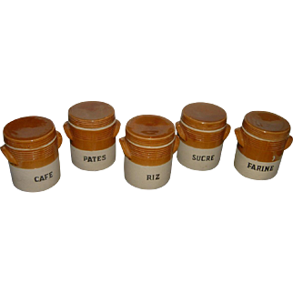 Vintage French Stoneware Canister Set of 5