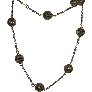 Antique French 900 Silver Heavy sensational Long Chain