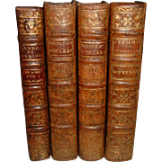 "Antique Leather Bound French Books 4 Volumes Dated mid 1750""s"