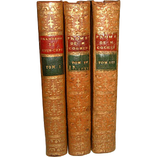 Antique French Leather Books 3 Volumes Dated 1751-1806