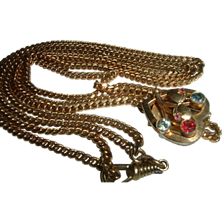 """Antique Gold Filled Slide Watch Chain 52"""" inches"""