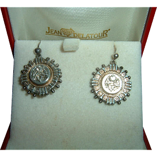 Antique English Sterling Silver Earrings.