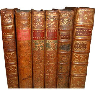 Antique French Full Leather Books 6 Volumes Dating from 1732 to 1801