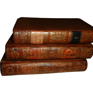 Vintage French Full Leather Books 3 Volumes 1810-1835