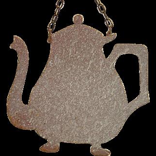 Antique Rare French Enamel Figural Shop Tea Pot Sign