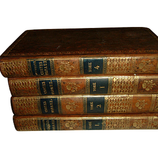 Antique French Full Leather Books 4 Volumes dated 1801 Beautiful