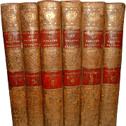 Antique French Leather Books 6 Volumes Theatre Tragedies 1803