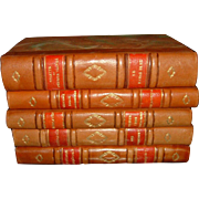 Vintage French Leather Books 5 Volumes