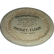 Antique Brown Polsons Paisley Flour Shortbread Advertising Dish Kitchenalia