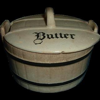 Antique English Banded Butter Dish Rare Kitchenalia