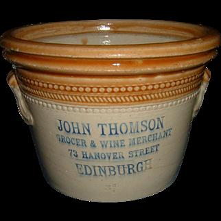 Antique English Stoneware Advertising Crock Grocer Rare