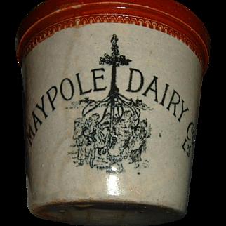 Antique English Stoneware Advertising Crock Rare Maypole Dairy
