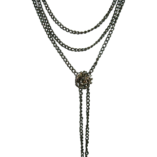 Antique French 900 Silver Long Guard Slide Chain with Slide
