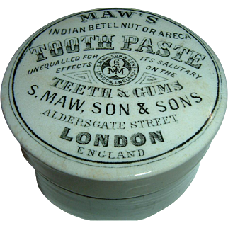 Antique English ironstone Chemist Advertising Pot Lid & Base Maws Tooth Paste