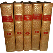 Antique French Full Leather Books 5 Volumes Wonderful