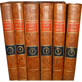 Antique French Full Leather Books 6 Volumes 1806