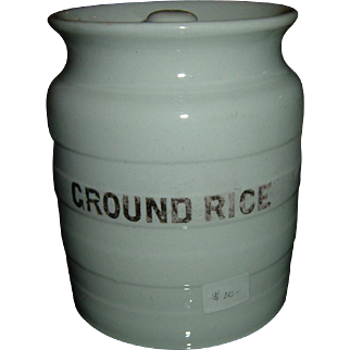 Vintage English Banded Ironstone Mixed Rice Canister