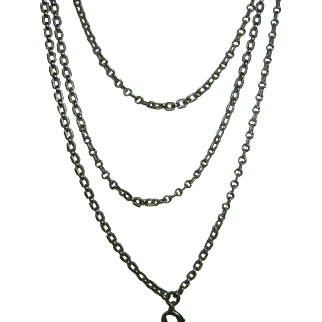 Antique French 900 Silver Long Guard Muff Chain