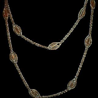 Vintage French Gold Filled Long Chain Filigree Design