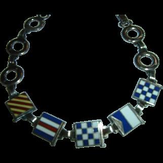 Vintage Sterling & Enamel Nautical Signal Flag Bracelet