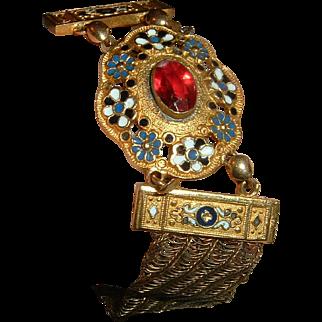 Antique Gold Filled & Enamel Bracelet Super