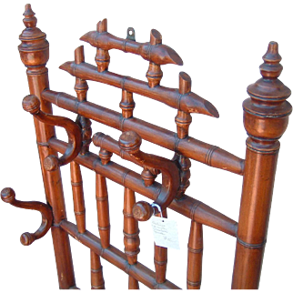 Antique French Bamboo Wall Hat & Coat Hook Rare
