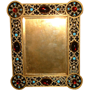 Antique Brass Jeweled Photo Frame