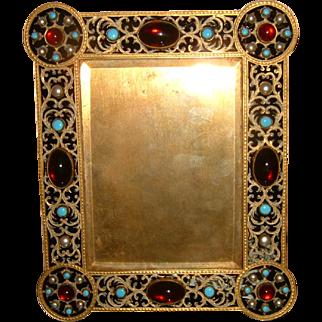 Antique Brass Jeweled Photo Frame