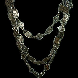 Antique 835 Silver Long Guard Chain Rare Design