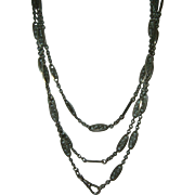 Antique 800 Silver Filigree Long Guard Muff Chain
