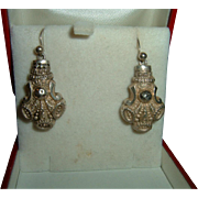 Antique Sterling Silver Earrings Circa 1910