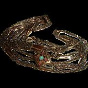 Antique Gold Filled Long Guard Slide Chain Opal Slide