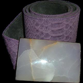 Vintage Designer Purple Lizard Belt. Quartz Buckle