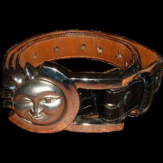 Vintage Designer Belt Sterling Winking Sun Aligator
