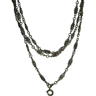 Antique French 900 Silver Long Guard Muff Chain 31.35 gr.