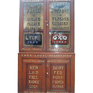 Antique English Sutton Family Advertising Display Cabinet