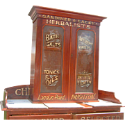 Antique English Herbalist Display Cabinet Advertising