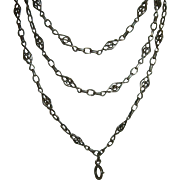 Antique French 900 Silver Long Guard Muff Chain 120 cm