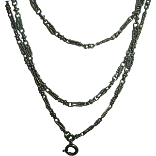 Antique French 900 Silver Long Guard Muff Chain 140 cm