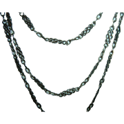 Antique French 900 Silver Long Guard Muff Chain 130 cm