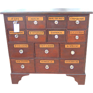 Antique English Apothecary Chest of Drawers Rare