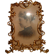 Antique Ornate English Brass Frame