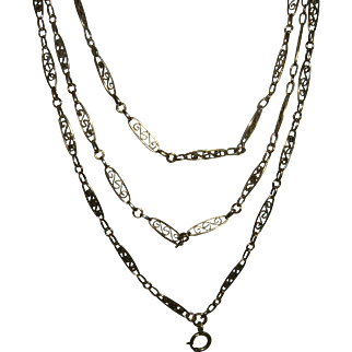 Antique French 900 Silver Long Guard Muff Chain Vermeil