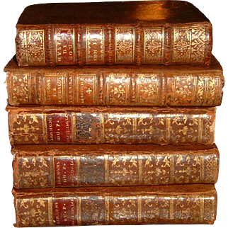 Antue French Full Leather Books 5 Volumes Dating 1726-1787