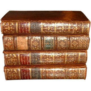 Vintage French Full Leather Books 4 Volumes 1727-1787