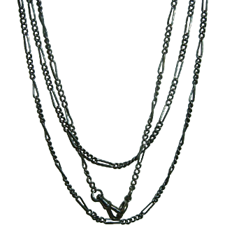 Antique French 900 Silver Long Guard Muff Chain 166 cm