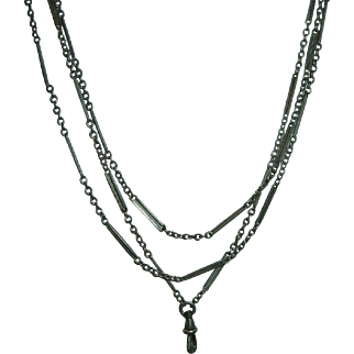 Antique 800 Silver Long Guard Muff Chain