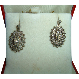 Antique English Sterling Silver Edwardian Earrings